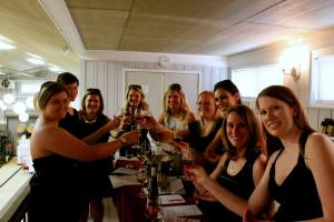 Michele's bridesmaids and friends starting the day with a toast at Narmada Winery